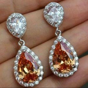 Jewelry - 14K WGF Morganite Crystal Earrings Stud   Drop